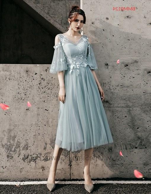 Ide Gaun Pengantin Muslimah Malaysia T8dj Gray Blue 6 Designs Tea Length Bridesmaid Dinner Dress