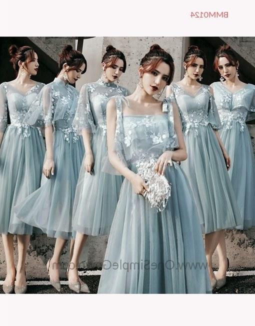 Ide Gaun Pengantin Muslimah Malaysia Zwdg Gray Blue 6 Designs Tea Length Bridesmaid Dinner Dress