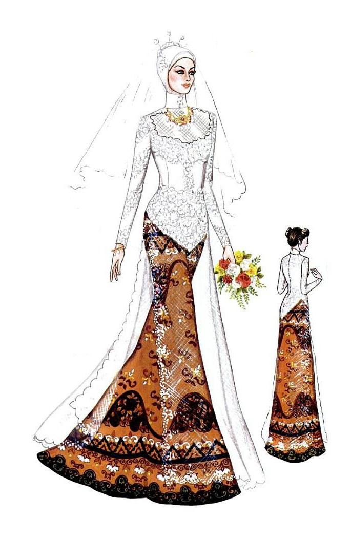 Ide Gaun Pengantin Muslimah Yang Syar'i Nkde Beautiful Wedding Wedding Clothes Design Sketches