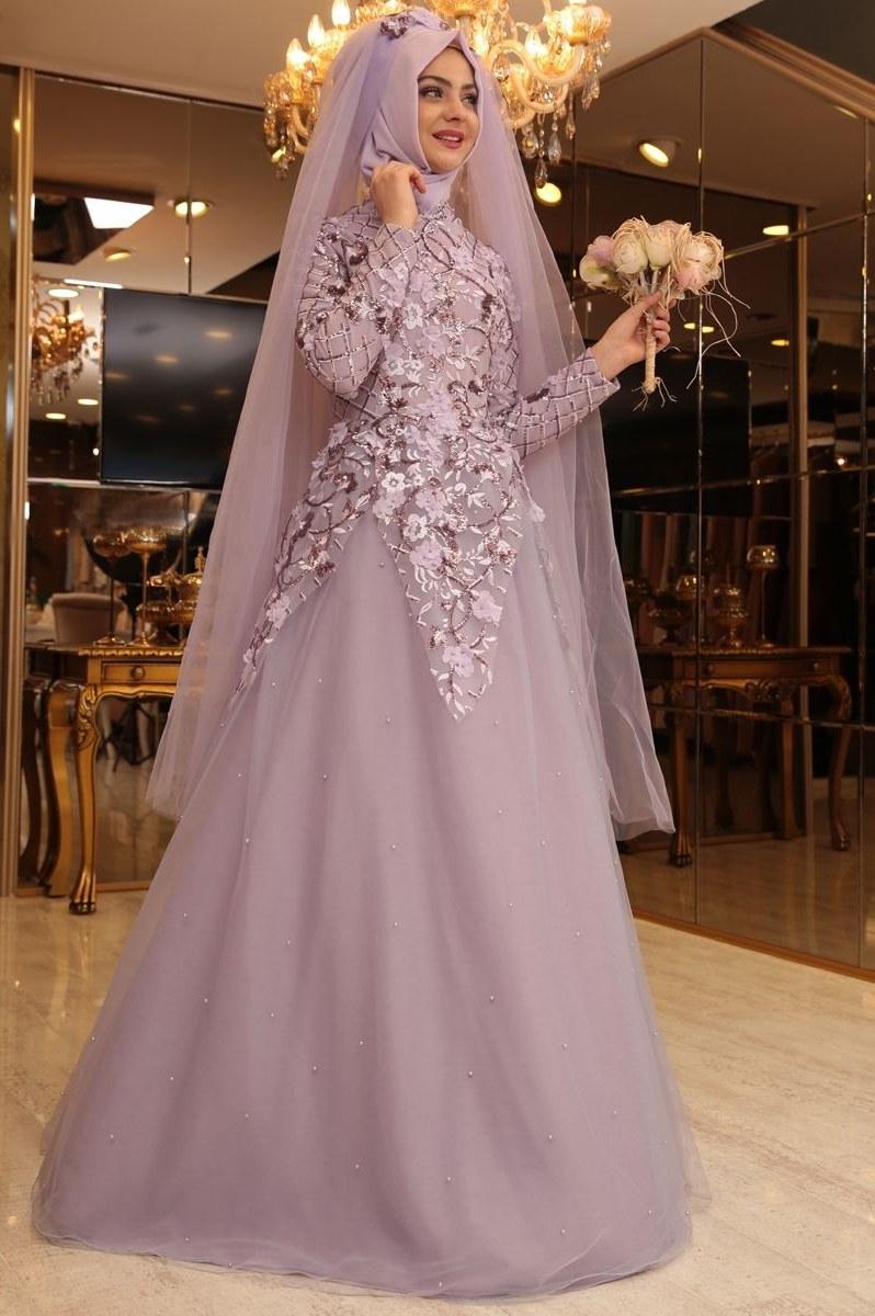 Ide Jual Baju Pengantin Muslimah Syar'i Tqd3 Pınar Şems Salkım Abiye Lila Brides islam