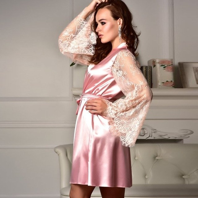 Ide Model Baju Pengiring Pengantin Muslim Q0d4 Us $5 41 Off Wanita Satin Transparan Seksi Bridesmaid Pendek V Leher Pengantin Gamis Renda Pernikahan Baju Tidur Kimono Wanita Jubah Mandi Pakaian