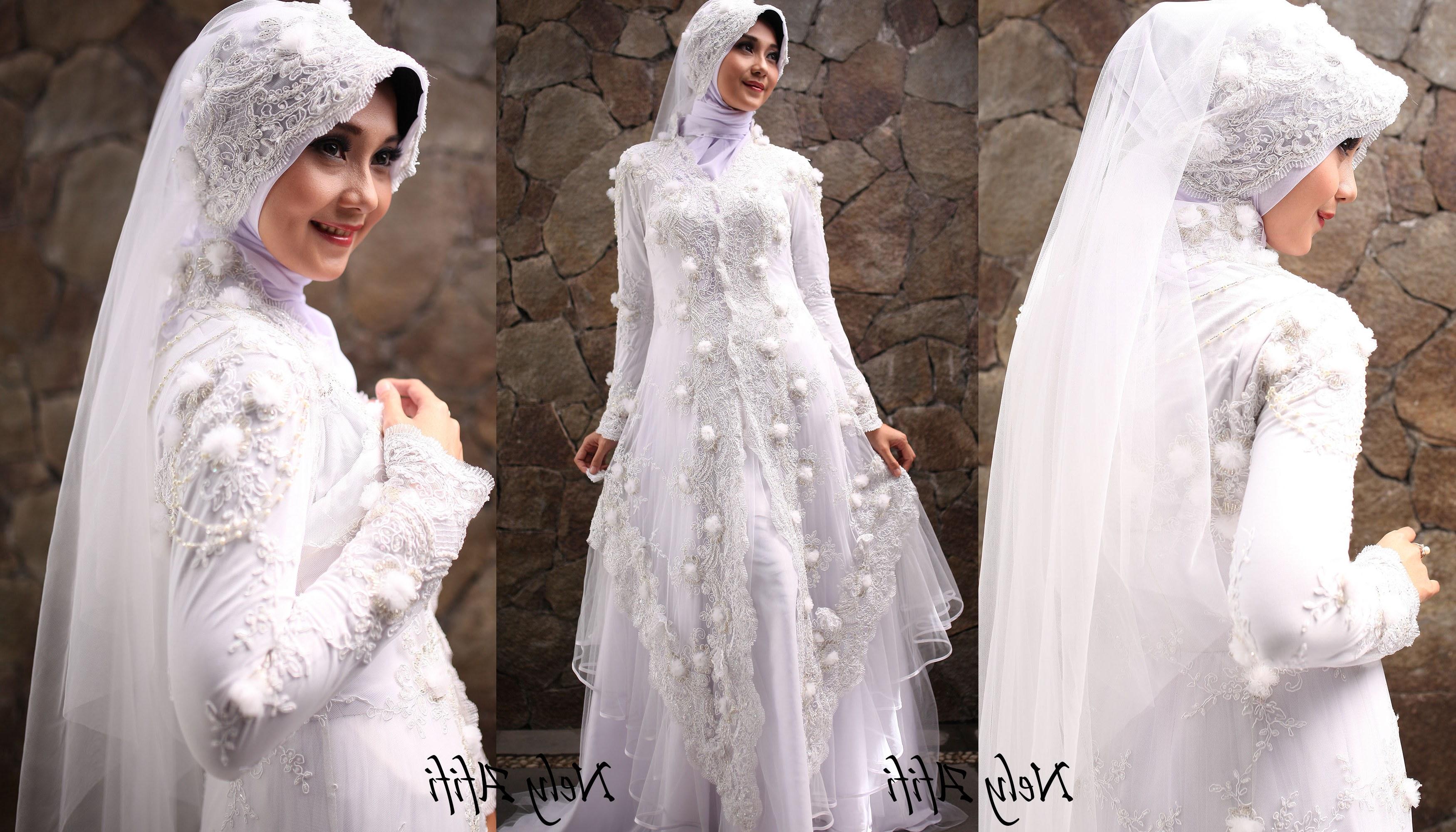 Ide Sewa Gaun Pengantin Muslimah Malang 8ydm Gaun Pengantin Muslimah Kebaya Modern Brocade Putih