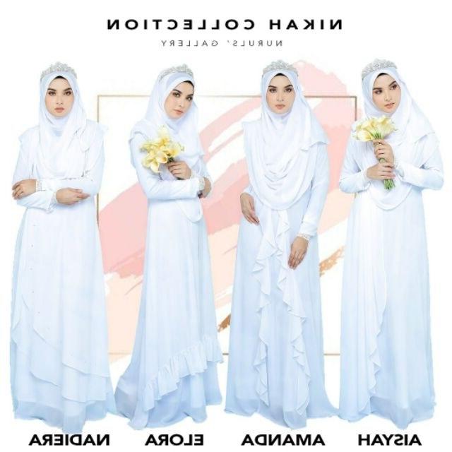 Inspirasi Baju Gaun Pengantin Muslimah 8ydm Dress Nikah Putih Pure White Free Khimar Free Pos