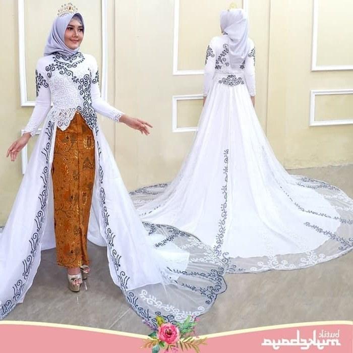 Inspirasi Busana Pengantin Muslimah Modern Tldn Jual Kebaya Modern Ekor Tile Baju Pengantin Muslim Free Rok Wiru Kota Medan Novi Kebaya