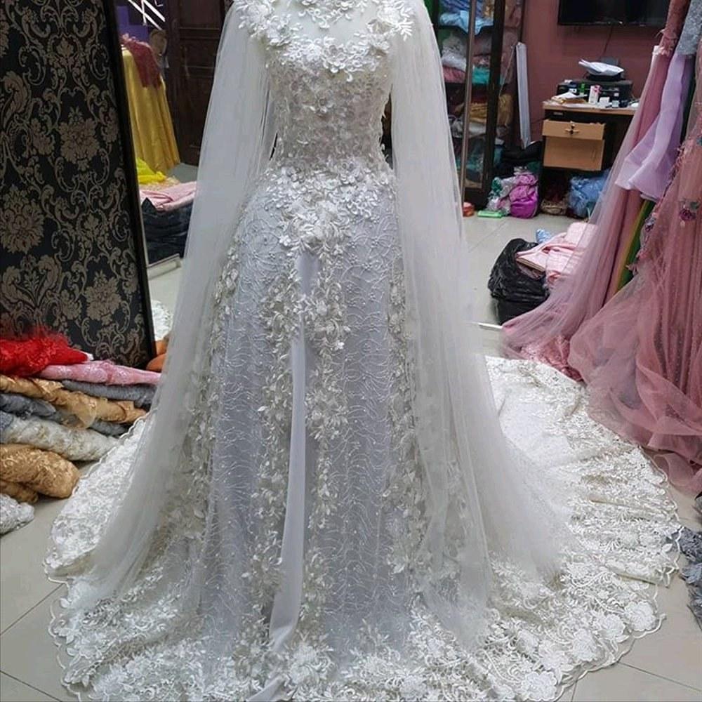 Inspirasi Busana Pengantin Muslimah Modern Y7du Gaun Kebaya Pengantin Muslimah Modern Gaun Pengantin Bisa 3 Model Gaun 3in1