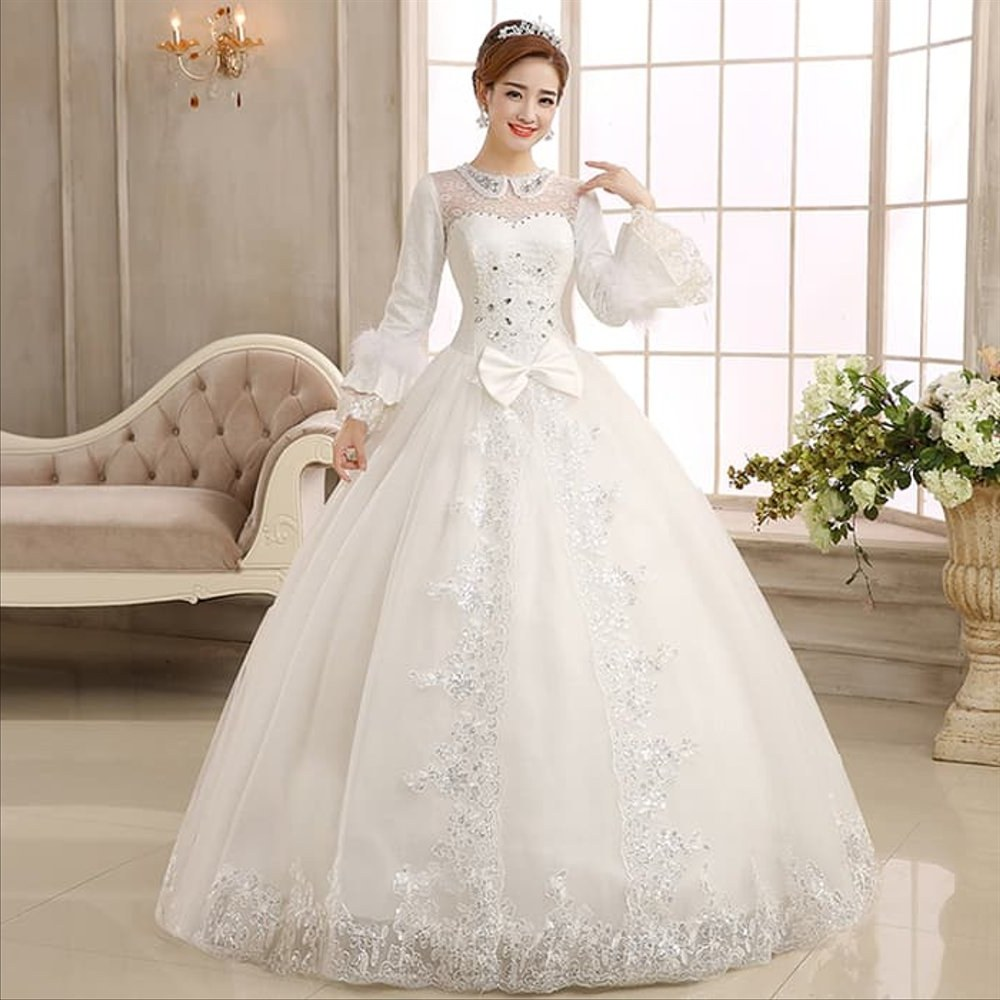 Inspirasi Gaun Pesta Pengantin Muslimah Bqdd Cantik Baju Pesta Gaun Pengantin Muslimah Wedding Dress Import Lengan Panjang Modern Gaun Dres Dress