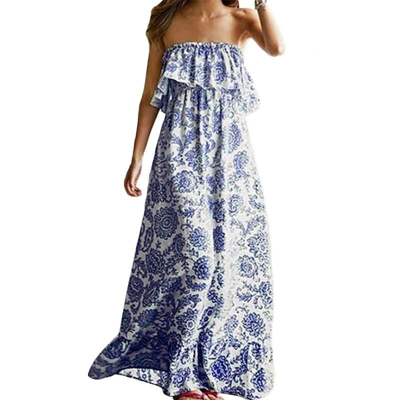 Inspirasi Model Baju Pengantin Muslimah Dddy Women S Plus Size Print Ruffle Tube Boho Beach Y Maxi Dress