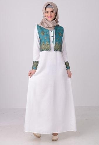Model Gamis Polos Kombinasi Bunga2 Ragam Muslim