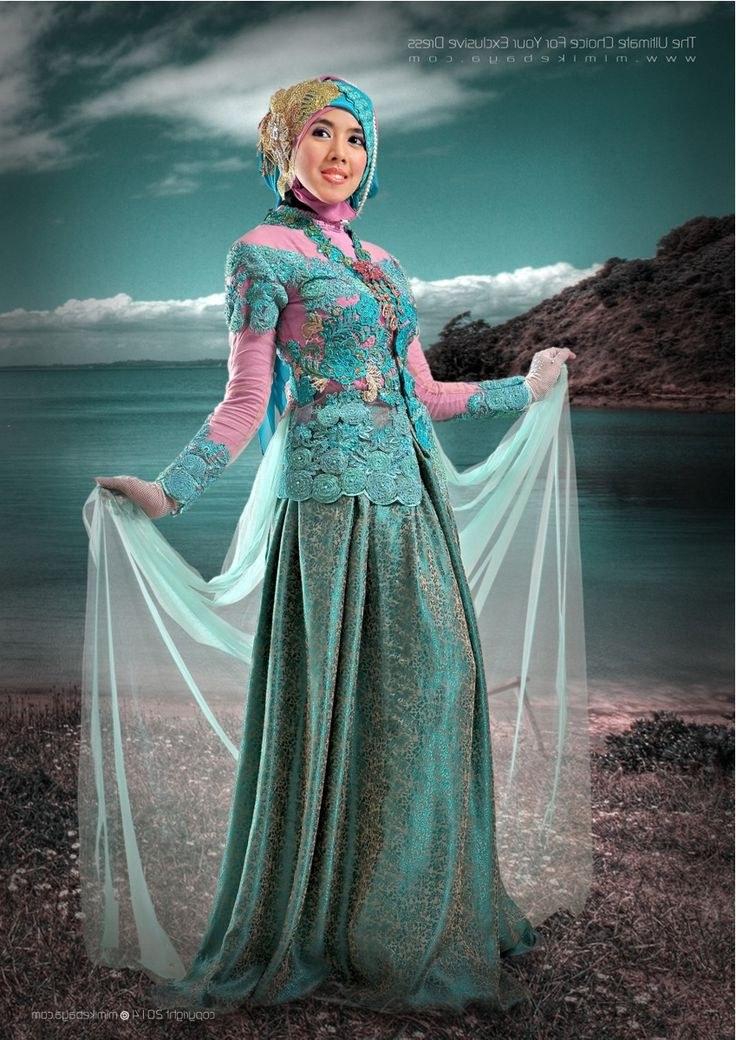 Model Baju Pengantin Muslimah Syar'i Kebaya 3id6 Kebaya Muslimah Biru toska Kombinasi Pink