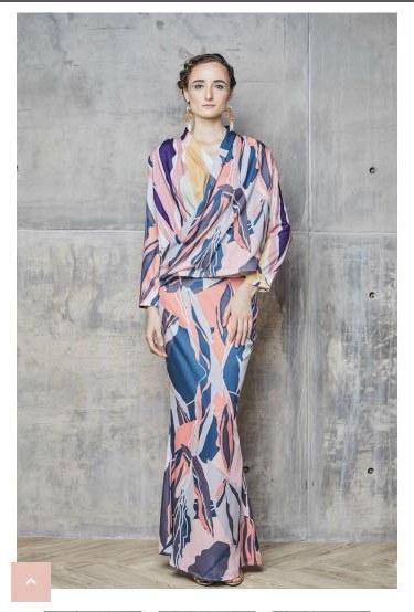 Model Gaun Muslim Pengantin T8dj Reduced Mimpikita Maya Printed Overlap Kurung Set In Teal