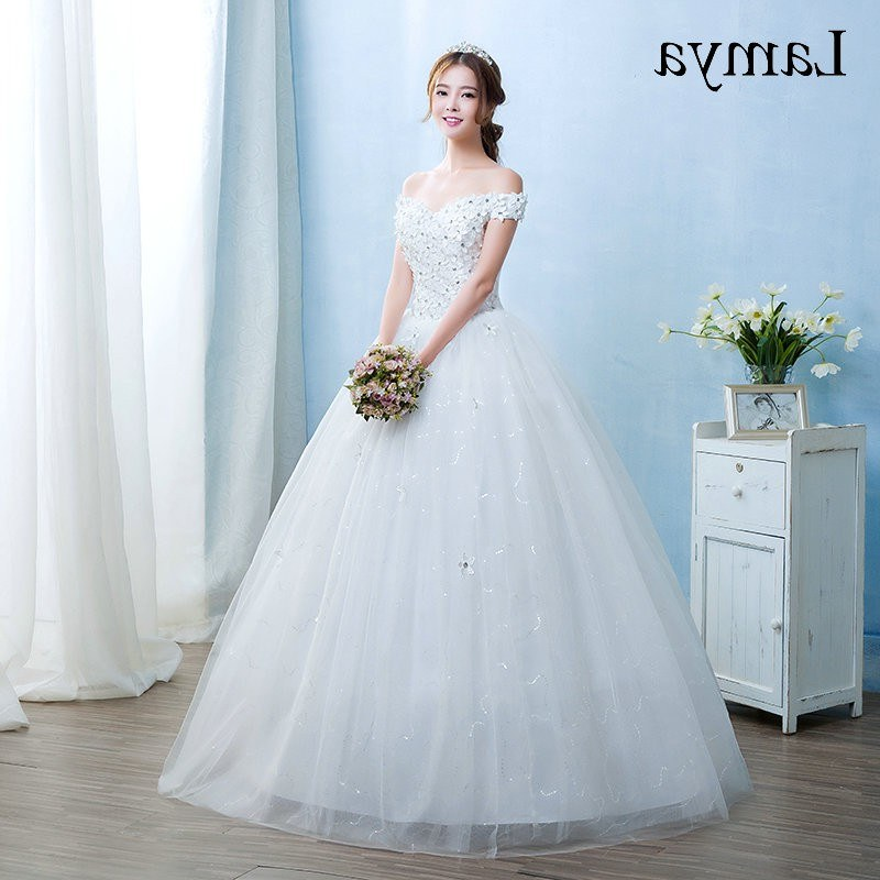 Model Gaun Muslimah Pengantin 87dx wholesale Vestido De Noiva 2019 Princess Cheap Appliques Elegant Wedding Dresses Fashion Lace Up Bridal Gowns Real In Stock Bride Dresses