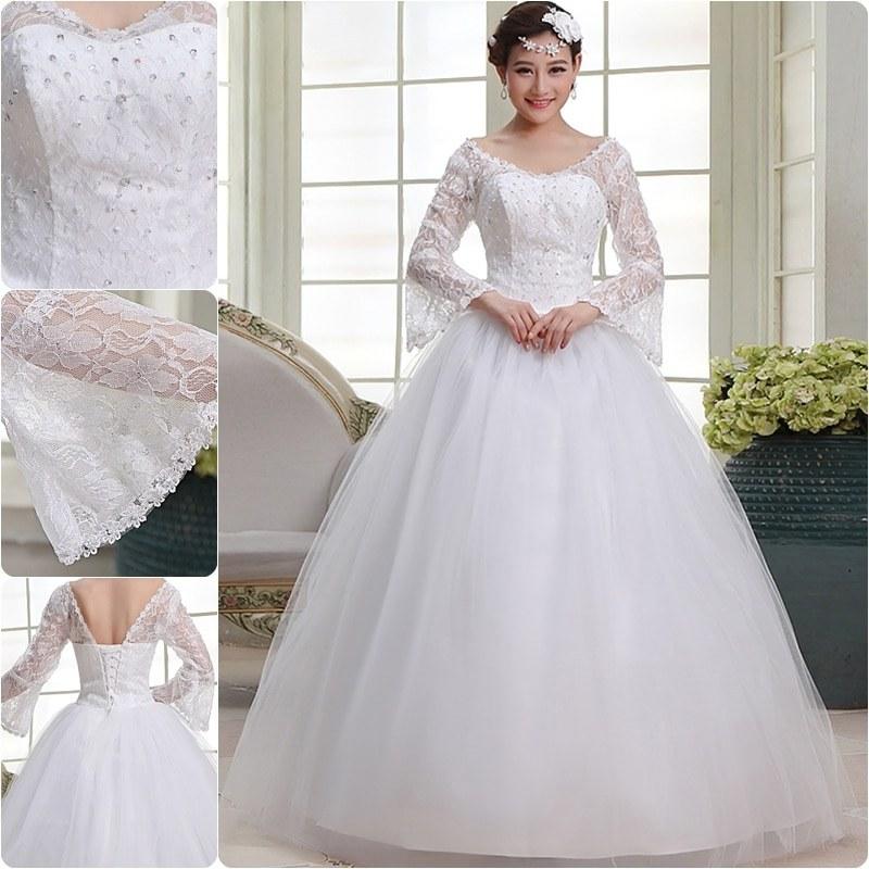Model Gaun Pengantin Muslim Modern 2015 87dx Free Shipping Long Sleeve White Lace Up Bridal Gowns Dresses