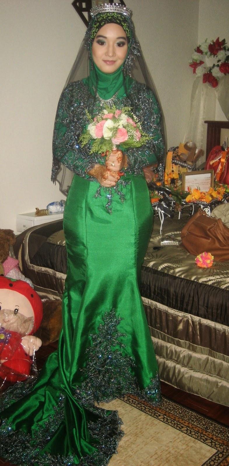 Model Gaun Pengantin Muslim Modern 2015 Zwd9 Baju Gamis Hijau