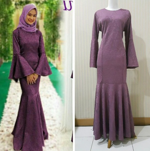 Model Gaun Pengantin Muslim Modern 2018 O2d5 Model Baju Gamis Duyung Kombinasi Batik Gamis Brokat
