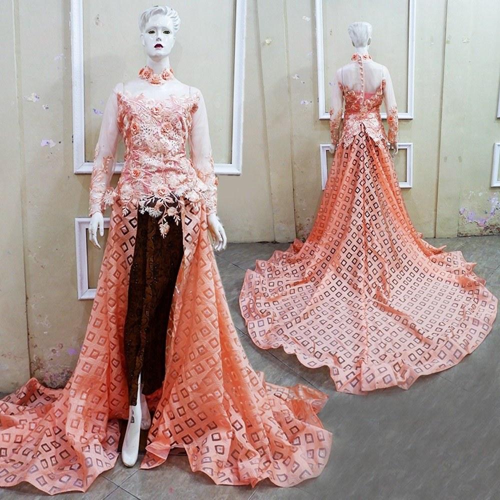 Model Gaun Pengantin Muslim Sepasang 9fdy Kebaya Ekor Lace 3d Couple Baju Pengantin Free Rok Kamisol Selop 2 Pasang