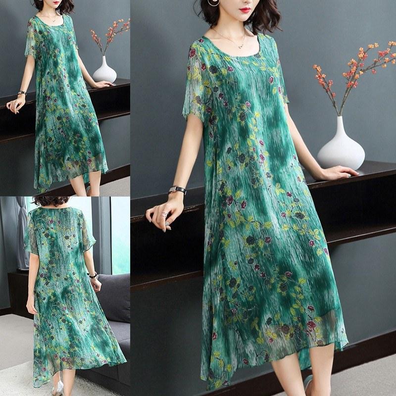Model Gaun Pengantin Muslimah Elegan Drdp Elegant Round Neck Short Sleeve Floral Printing Loose Midi Dress