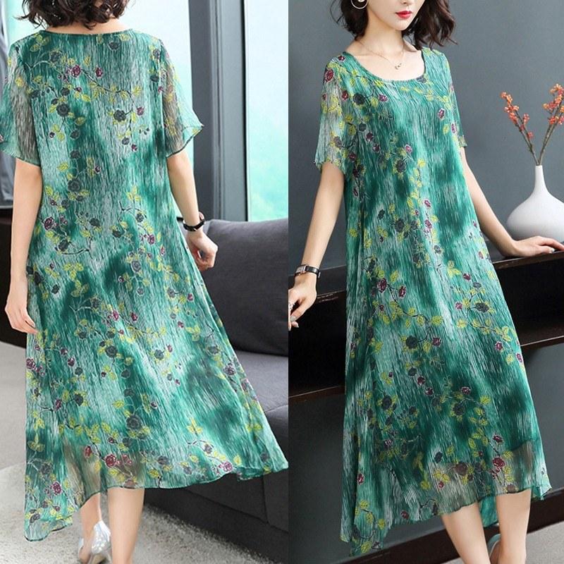 Model Gaun Pengantin Muslimah Elegan Wddj Elegant Round Neck Short Sleeve Floral Printing Loose Midi Dress