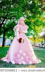 Model Gaun Pengantin Muslimah Pink Ffdn Muslim Nikah Stock S & Vectors