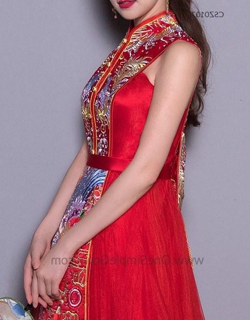Model Gaun Pengantin Muslimah Pink Tldn Sleeveless Phoenix Embroidery Floor Length Chinese Wedding Dress