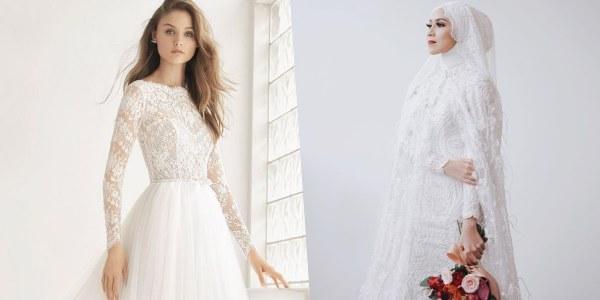 Model Gaun Pengantin Muslimah Untuk orang Gemuk E6d5 8 Inspirasi Busana Pengantin Berlengan Panjang Manis Buat