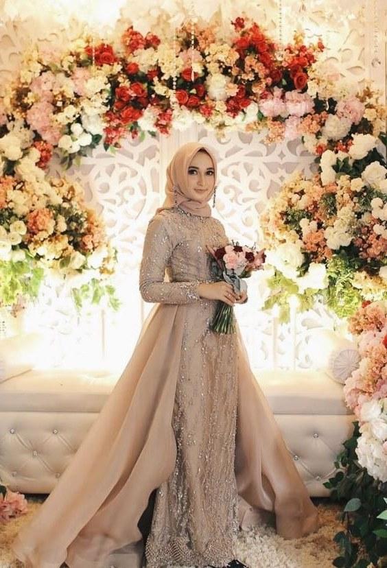 Model Gaun Pengantin Muslimah Untuk orang Gemuk Thdr Tampak Elegan Ini Dia 5 Warna Gaun Pengantin Muslimah