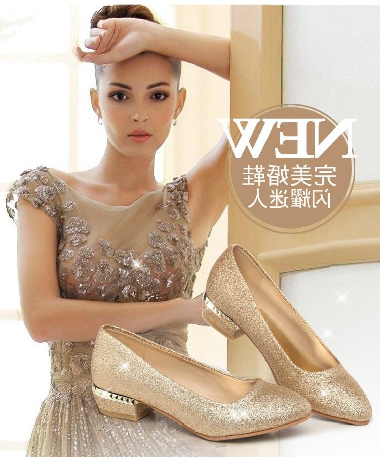 Model Gaun Pengiring Pengantin Muslim 4pde Sepatu Pernikahan Wanita Warna Emas Pengantin Sepatu Perjamuan Gaun Malam Sepatu Lapisan Tunggal Paillette Pengiring Pengantin Sepatu Hak Datar Sepatu