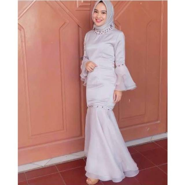 Model Gaun Pengiring Pengantin Muslim 9fdy Fashion Wanita Baju Dress Pesta Party Royal organza Premium
