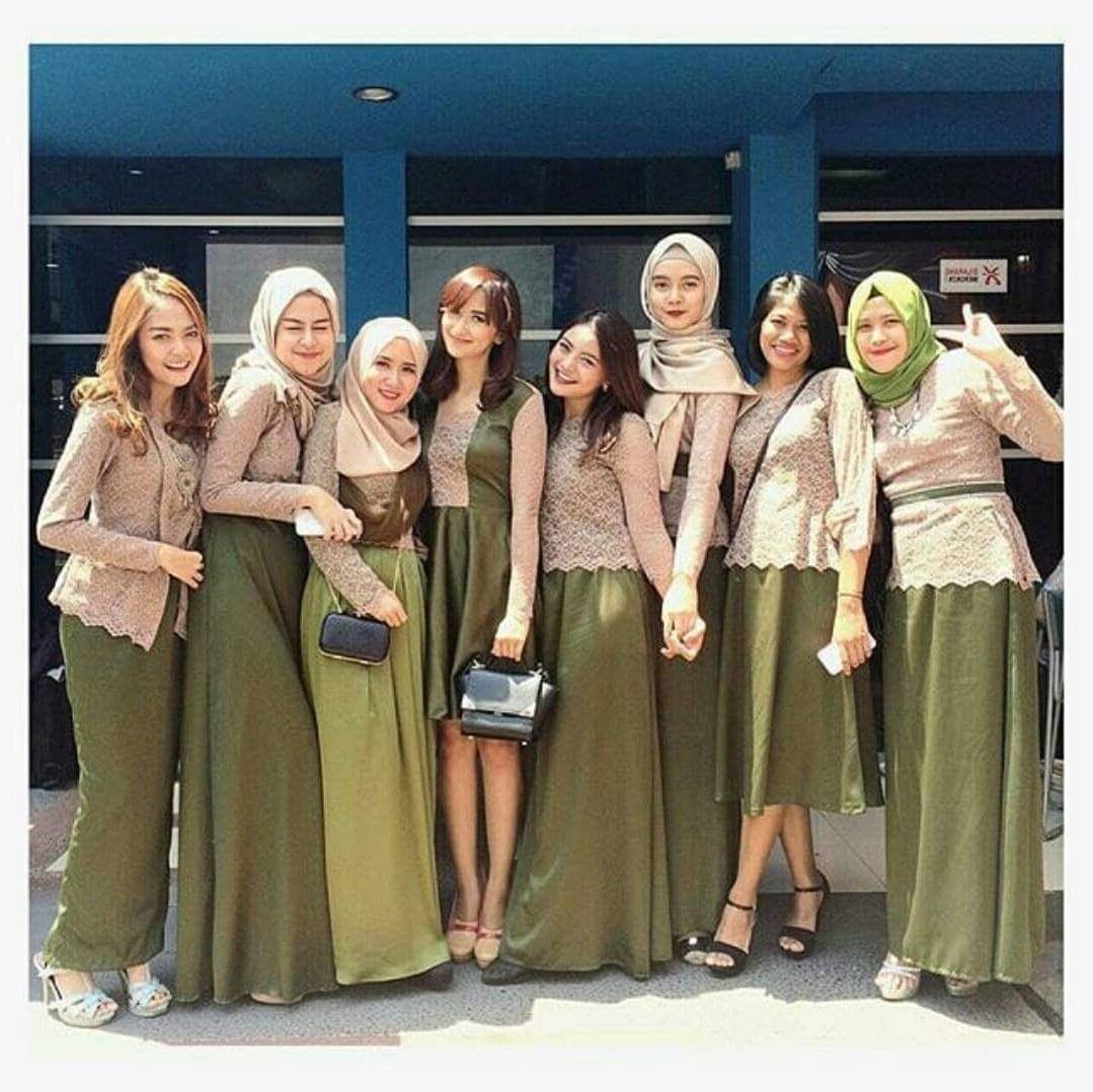 Model Gaun Pesta Pernikahan Muslimah Irdz Model Kebaya Seragam Hijau Trend 2017 Pernikahan Acara