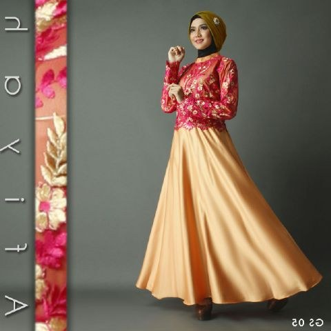 Model Gaun Pesta Pernikahan Muslimah Mndw Baju Pesta Premium athiyah A207 Gold butik Jingga