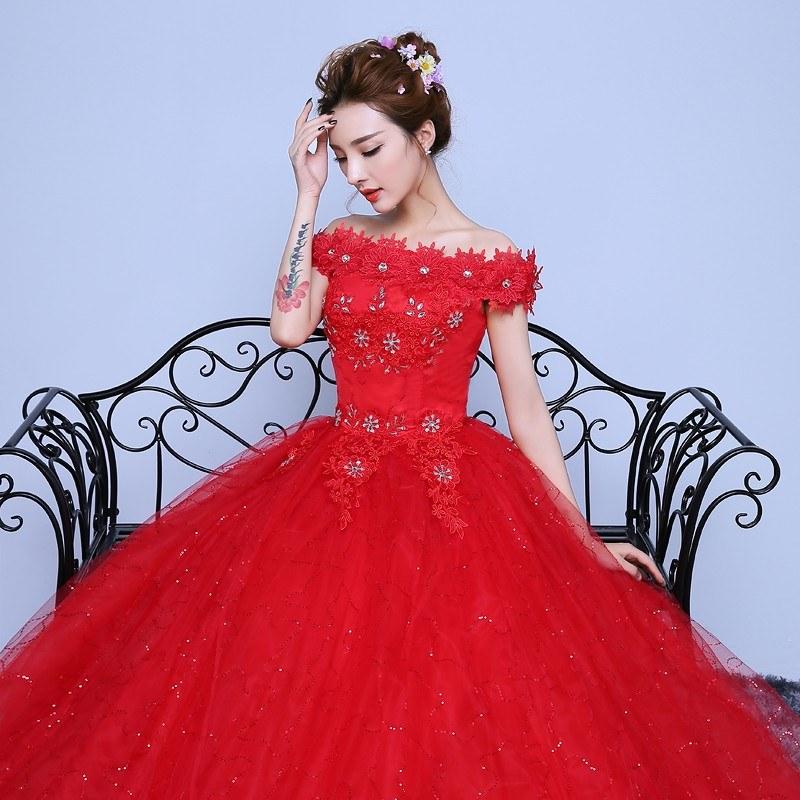 Model Model Gaun Pengantin Muslim Budm wholesale Fashionable Red Lace F the Shoulder Wedding Dress Customized Bridal Gowns Flowers with Crystal Vestido De Noiva White Wedding Dresses