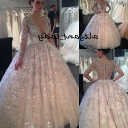 Model Sewa Baju Pengantin Muslim Modern 9ddf Sparkly Lace Sequins Ball Gown Wedding Dresses with Long Sleeve 2019 Y Dubai Arabic Princess Puffy Skirt Church Wedding Gown