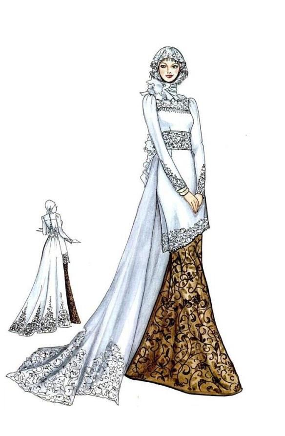 Model Sketsa Gaun Pengantin Muslimah Nkde Kebaya Dan Gaun Pengantin Muslim Model Pakaian