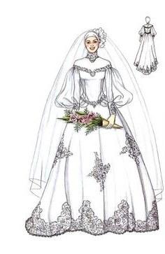 Model Sketsa Gaun Pengantin Muslimah Q0d4 12 Best Sketches Images