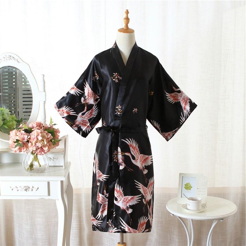 Bentuk Baju Gamis Pernikahan 9ddf Us $11 99 Off Satin Sutra Pernikahan Pengantin Pengiring Pengantin Jubah Hitam Kimono Mandi Pendek Jubah Malam Jubah Jubah Mandi Fashion Gaun