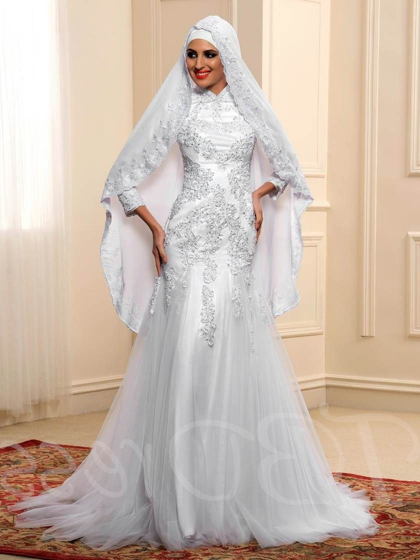 Bentuk Bridesmaid Dress Hijab J7do Long Sleeve Lace Tulle Mermaid Muslim Wedding Dress In 2019