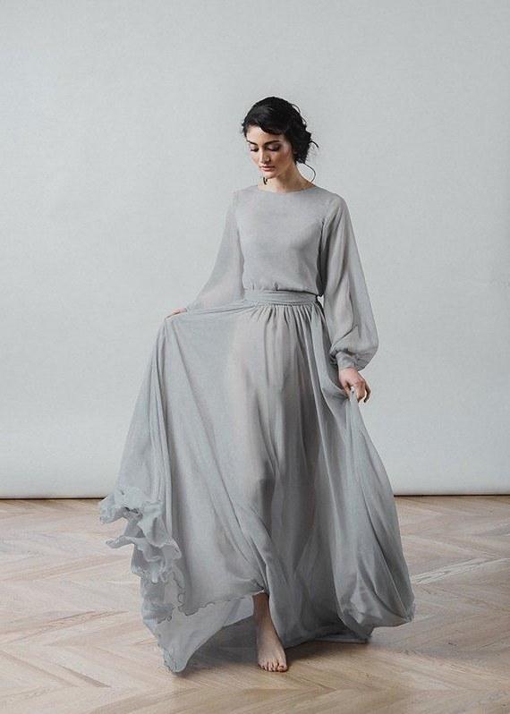 Bentuk Bridesmaid Dress Hijab Nkde Grey Wedding Dress Nirvana Boho Bridal Gown Chiffon Skirt