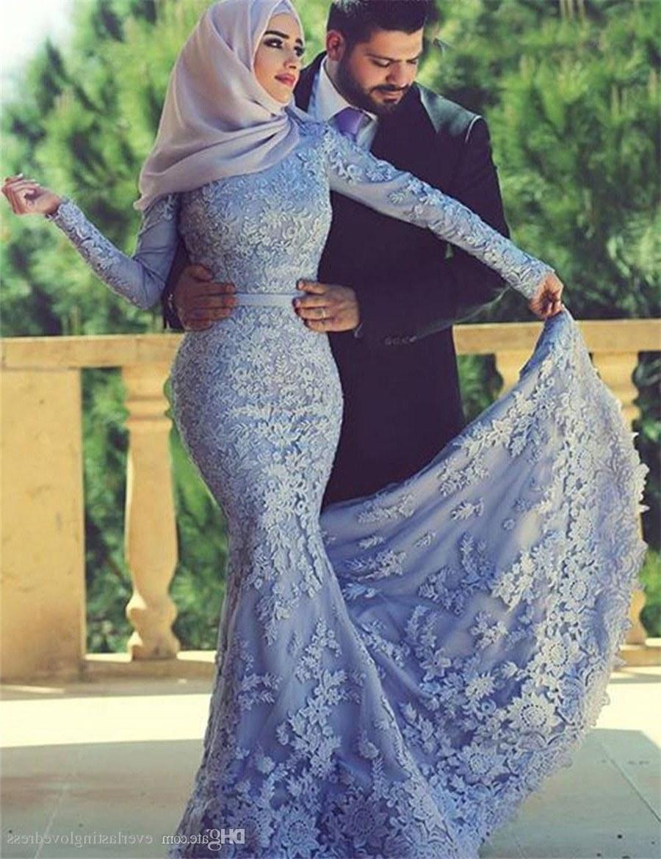 Bentuk Bridesmaid Hijab Pink 9fdy Saidmhamad Saudi Arabia Lace Applique Muslim Mermaid with Hijab Prom Dress Long Sleeves Purple Eveing Gown 80s Prom Dresses Aqua Prom Dresses From