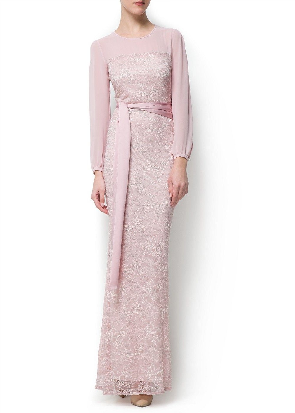 Bentuk Bridesmaid Hijab Pink E6d5 Lace Gown Woman In 2019