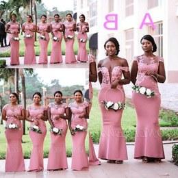 Bentuk Bridesmaid Hijab Pink Gdd0 south African Nigerian Girls Pink Mermaid Bridesmaids Dresses Sheer Neck Appliques Floor Length Maid Of Honor Gowns Plus Size Bm0614
