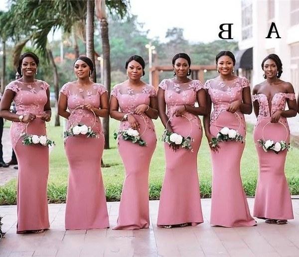 Bentuk Bridesmaid Hijab Pink Q0d4 2020 south African Nigeria Pink Mermaid Long Bridesmaids Dresses Plus Size Sheer Neck Lace Appliques Floor Length Wedding Guest Dress Bm0614