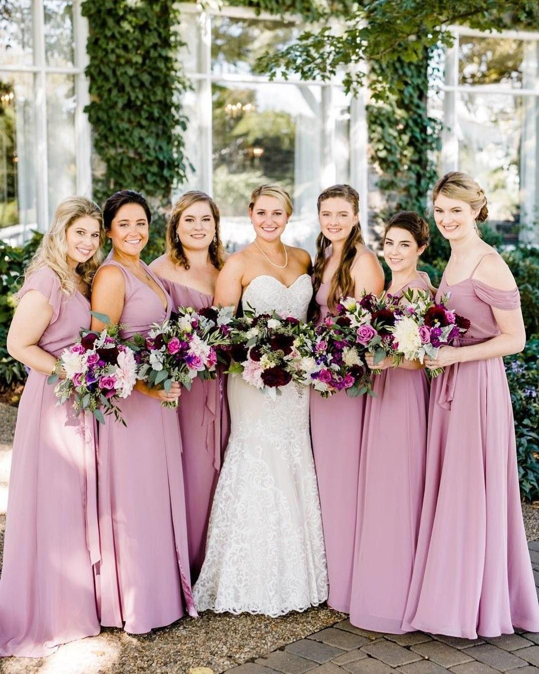 Bentuk Bridesmaid Hijab Pink Tldn Mauve Pink Bridesmaid Dresses and Pretty Wedding Bouquets