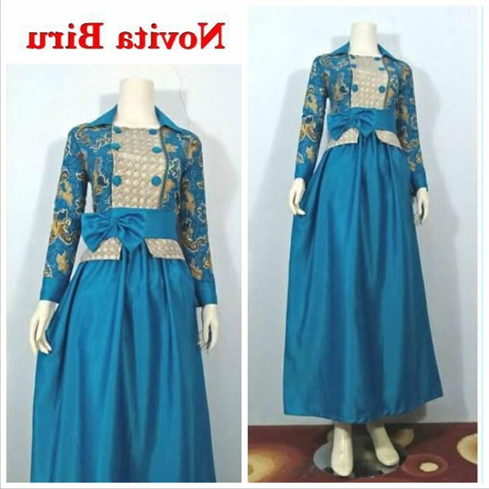 Bentuk Gamis Batik Seragam Pernikahan Dddy Baju Gamis Batik Terbaru Novita Warna Biru Kombinasi Velvet Cocok Untuk Pesta Pernikahan Seragam Acara formal Maupun Casual