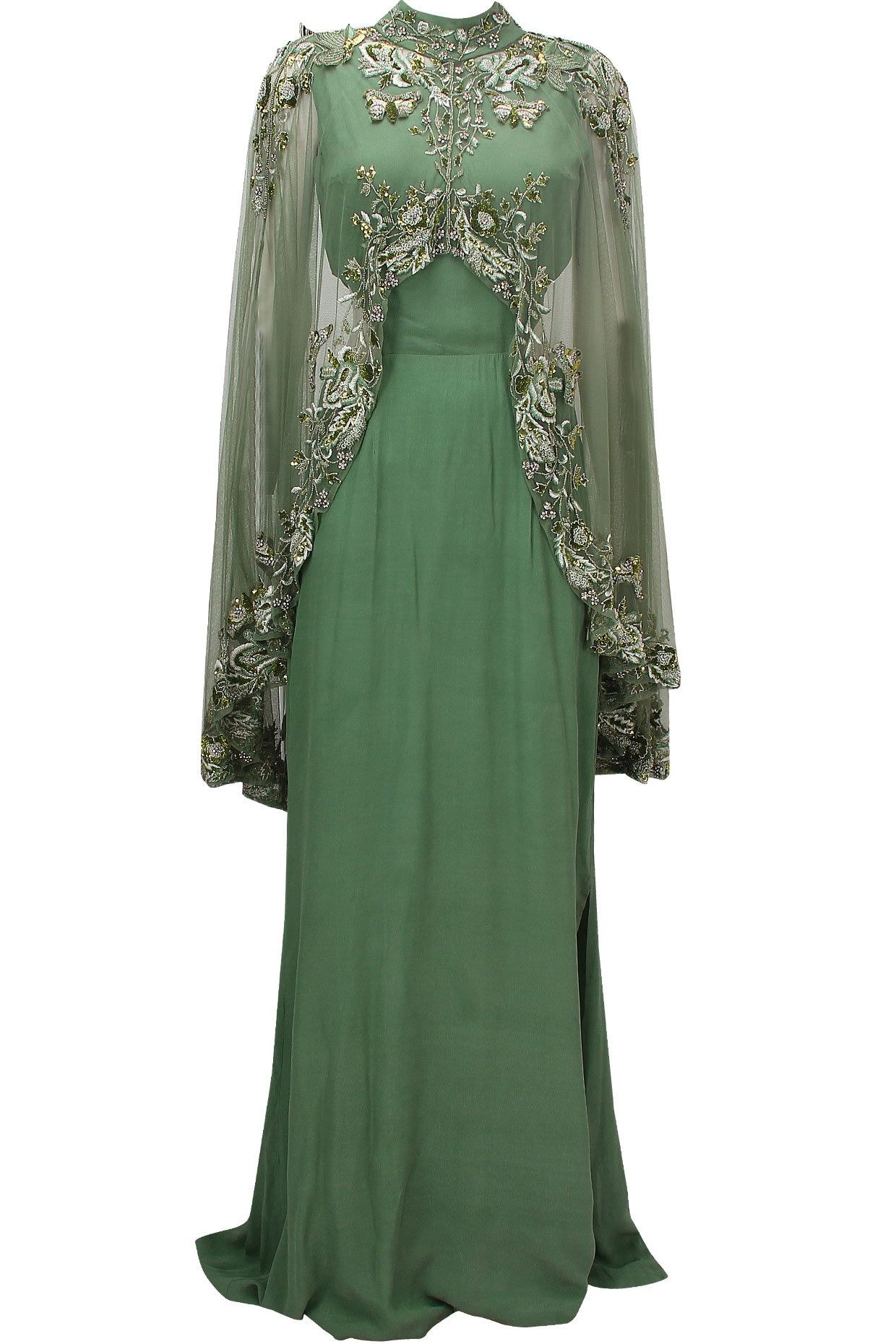 Bentuk Gamis Batik Seragam Pernikahan Fmdf Green Cutout Goddess Gown with Embroidered High Low Sheer