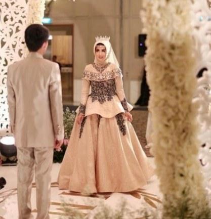 Bentuk Gamis Pernikahan Modern 8ydm √ 45 Model Baju Gamis Pesta Pernikahan Feminim Elegan