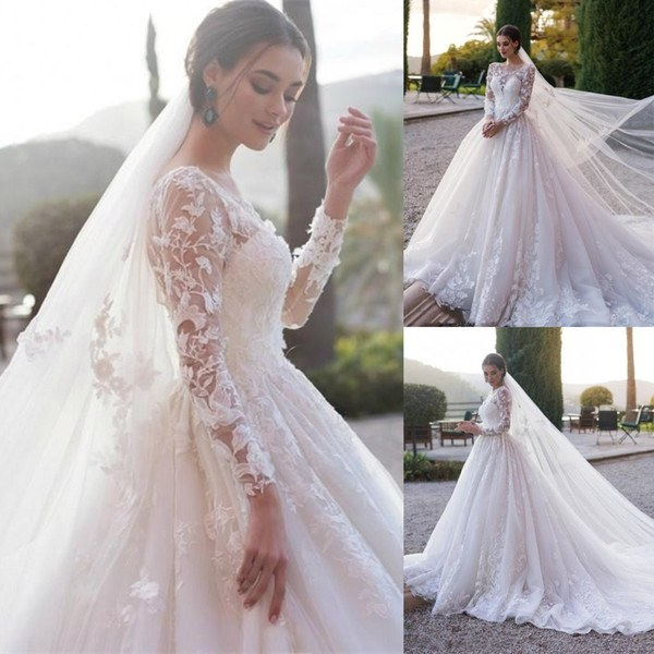 Bentuk Inspirasi Bridesmaid Hijab Q5df Modest Full Lace Long Sleeve Wedding Dresses Arabic Muslim A Line Sheer Neck Appliqued Ruched Long formal Bridal Gowns Custom Made