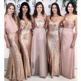 Bentuk Inspirasi Bridesmaid Hijab Thdr Modest Blush Pink Bridesmaid Dresses Beach Wedding with Rose Gold Sequin Mismatched Wedding Maid Of Honor Gowns Women Party formal Wear
