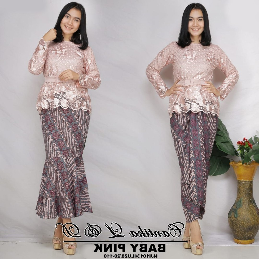 Bentuk Kebaya Bridesmaid Hijab Modern D0dg Cantika Sulam Kurung with Printed Batik Skirt Free Belt