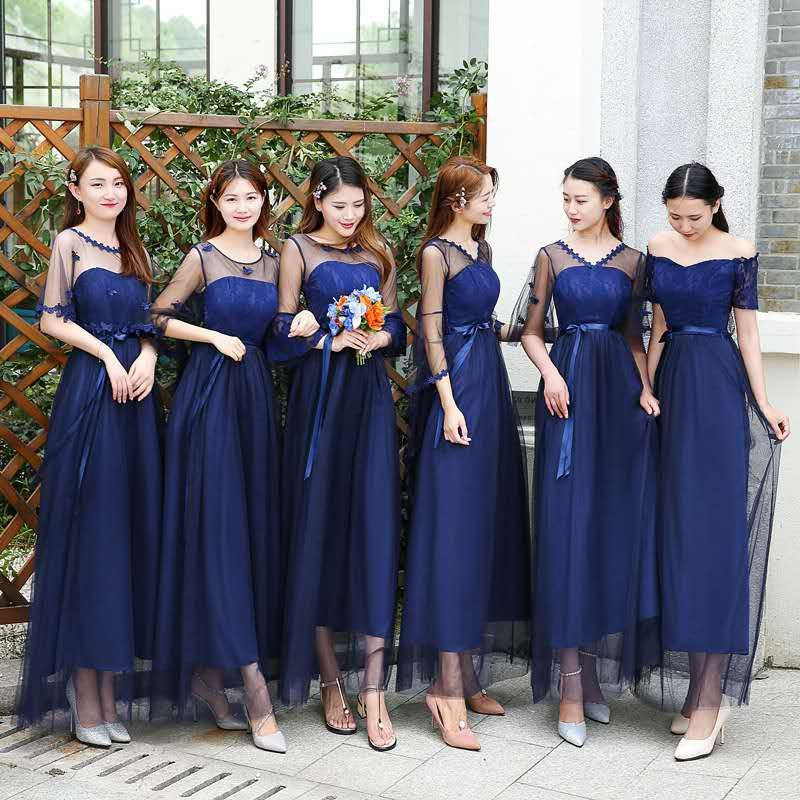 Bentuk Model Baju Bridesmaid Hijab Brokat X8d1 Dress Bridesmaid Model Slim Gaya Korea Warna Biru Navy