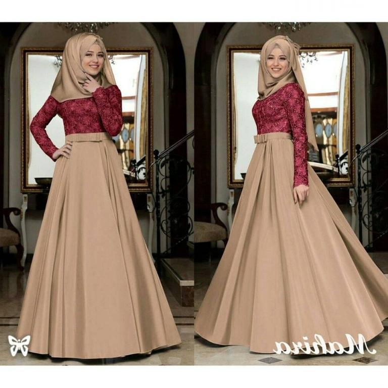 Bentuk Model Baju Gamis Untuk Pesta Pernikahan T8dj Set Gamis Pesta Remaja Modern Mahira Maroon Mocca
