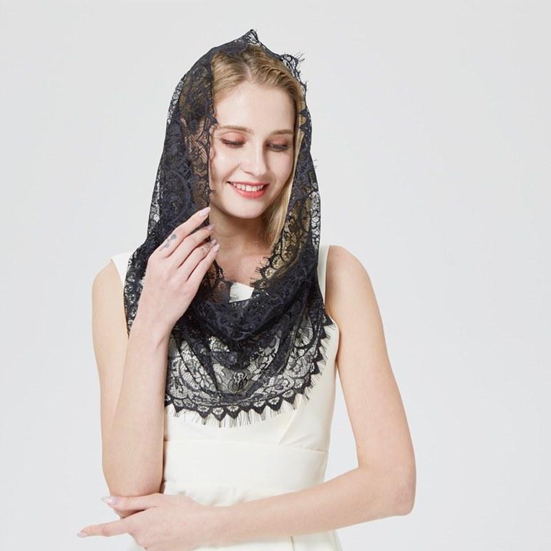 Bentuk Model Bridesmaid Hijab S5d8 Us $7 68 Off Aliexpress Buy Design Women soft Black White Lace Scarf Rings La S Shawls Foulard Femme Headband Wedding Hijab Church Scarves